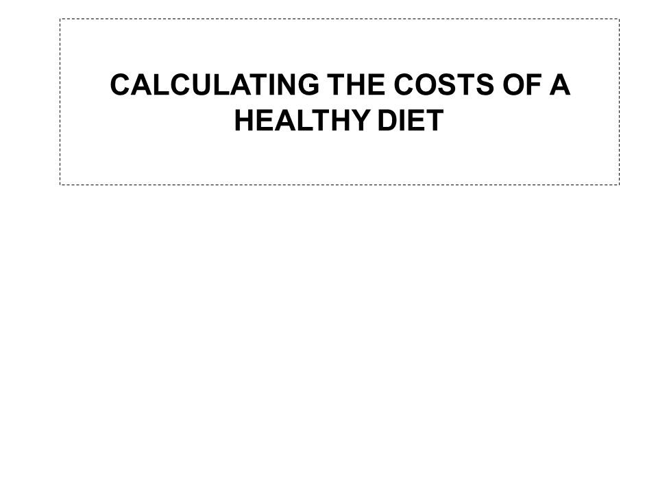 CALCULATING THE COSTS OF A HEALTHY DIET