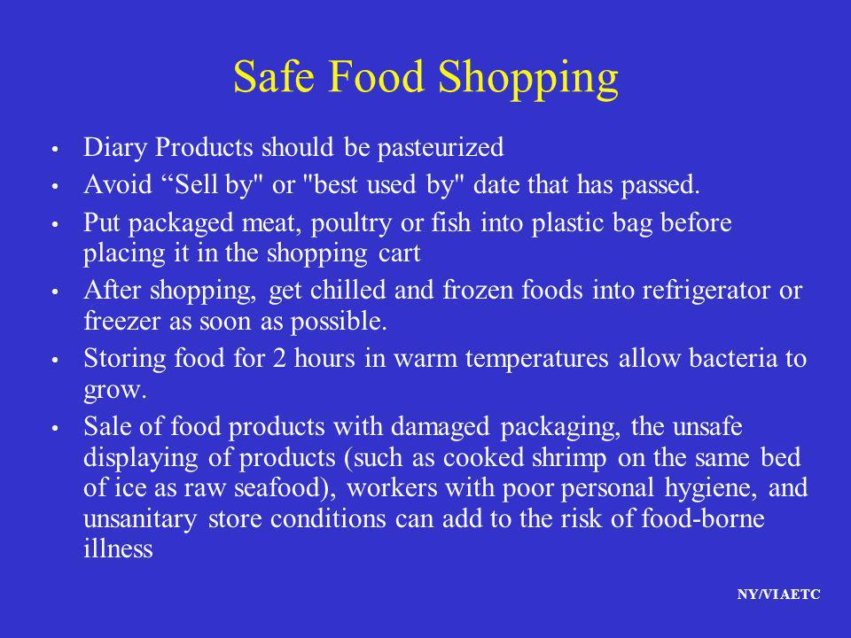 NY/VI AETC Safe Food Shopping Diary Products should be pasteurized Avoid Sell by