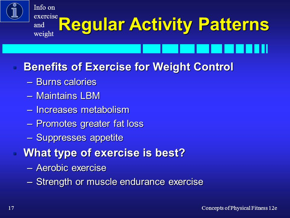17Concepts of Physical Fitness 12e Regular Activity Patterns Benefits of Exercise for Weight Control Benefits of Exercise for Weight Control –Burns ca
