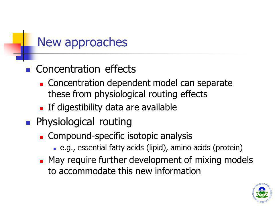 New approaches Concentration effects Concentration dependent model can separate these from physiological routing effects If digestibility data are ava