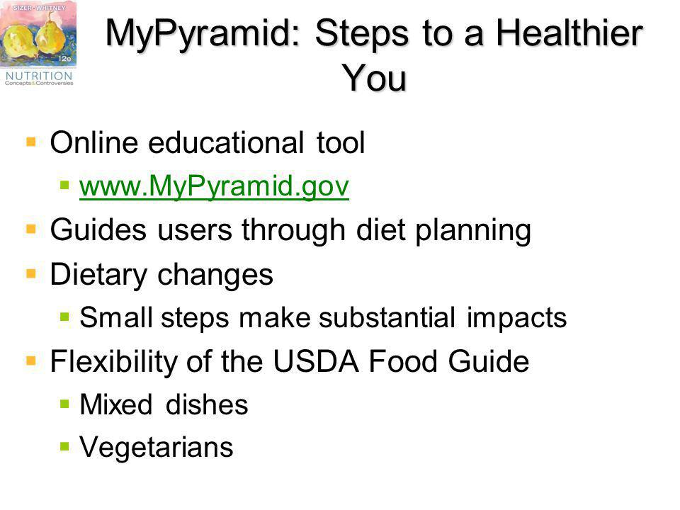 MyPyramid: Steps to a Healthier You Online educational tool www.MyPyramid.gov Guides users through diet planning Dietary changes Small steps make subs