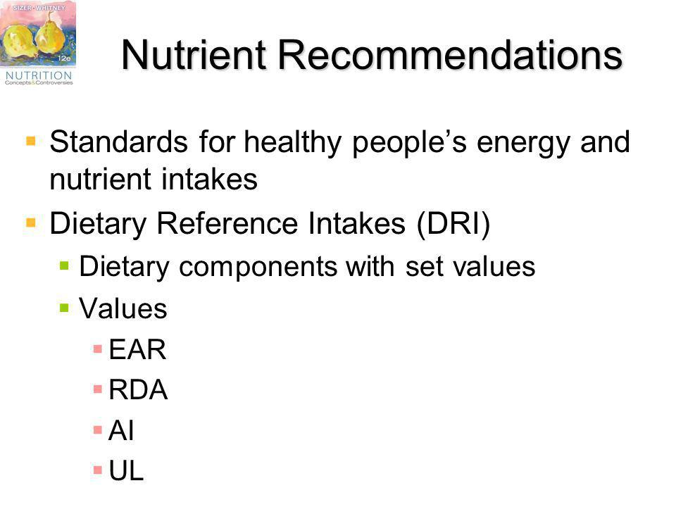 Nutrient Recommendations Standards for healthy peoples energy and nutrient intakes Dietary Reference Intakes (DRI) Dietary components with set values