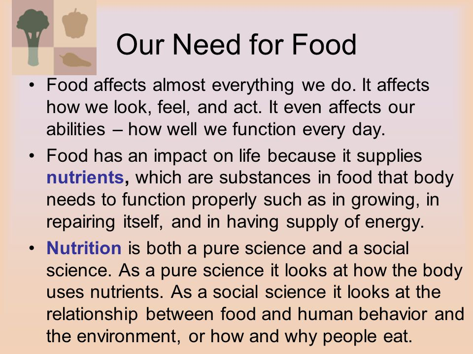 Our Need for Food Food affects almost everything we do.