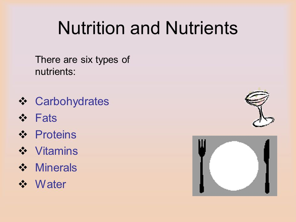 Nutrition and Nutrients There are six types of nutrients: Carbohydrates Fats Proteins Vitamins Minerals Water