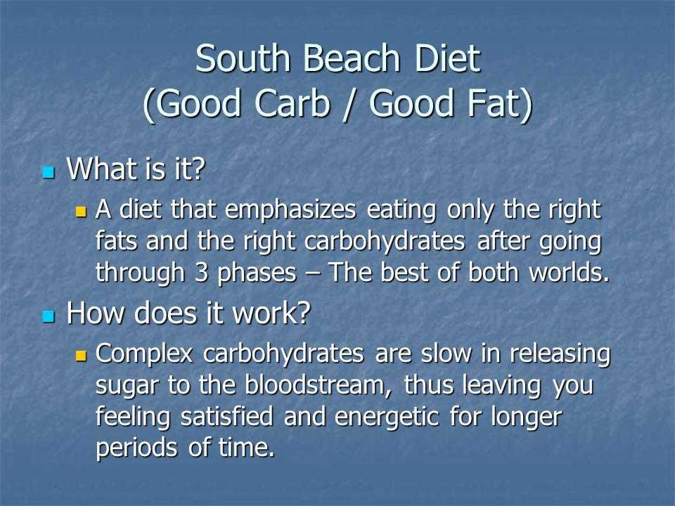 South Beach Diet (Good Carb / Good Fat) What is it.