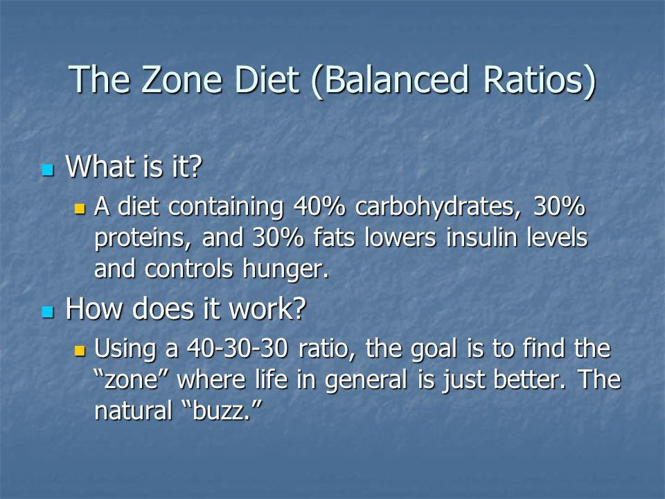 The Zone Diet (Balanced Ratios) What is it. What is it.