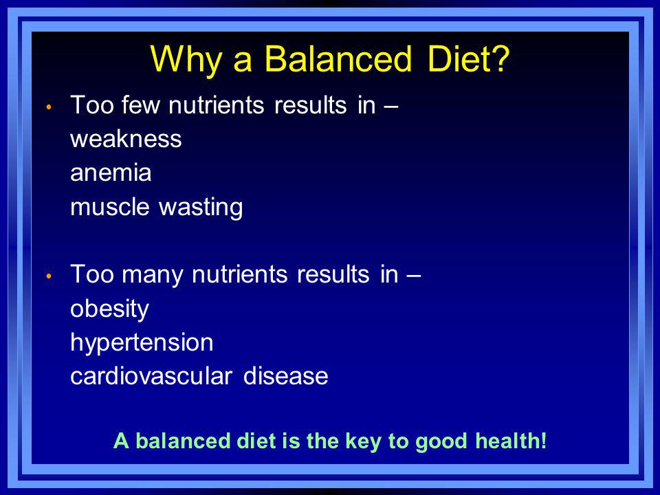 Why a Balanced Diet.