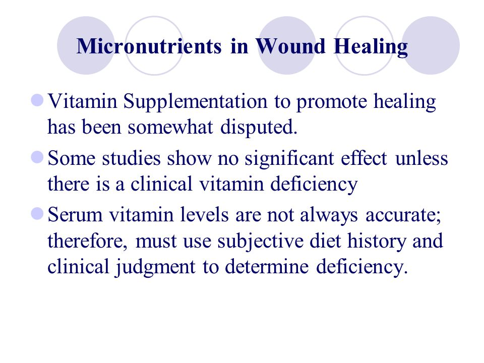 Micronutrients in Wound Healing Vitamin Supplementation to promote healing has been somewhat disputed. Some studies show no significant effect unless