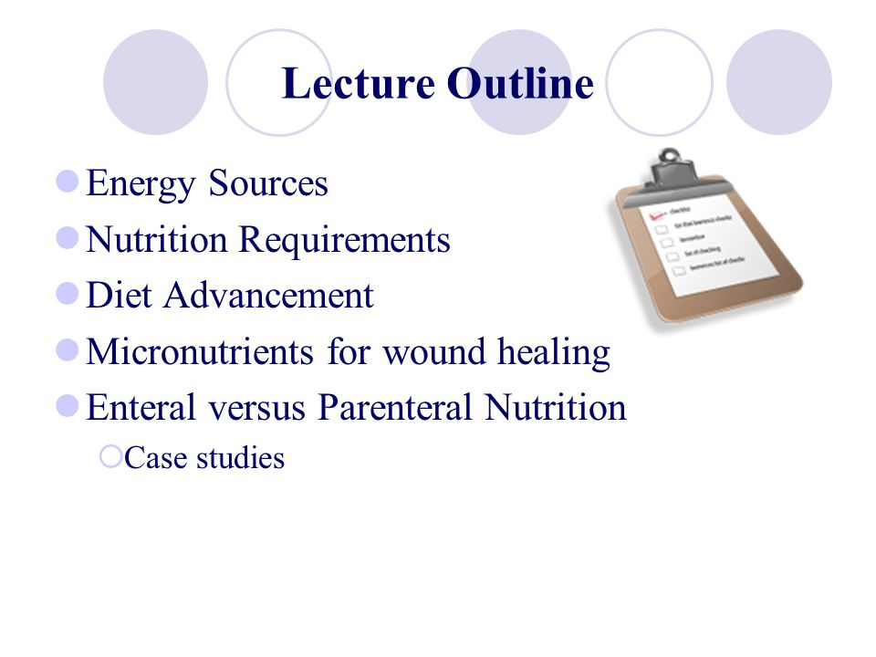 Key Nutrients for Wound Healing Zinc: Protein synthesis, cellular replication, collagen formation; large wounds, chest tubes, and wound drains contribute to further zinc loses.