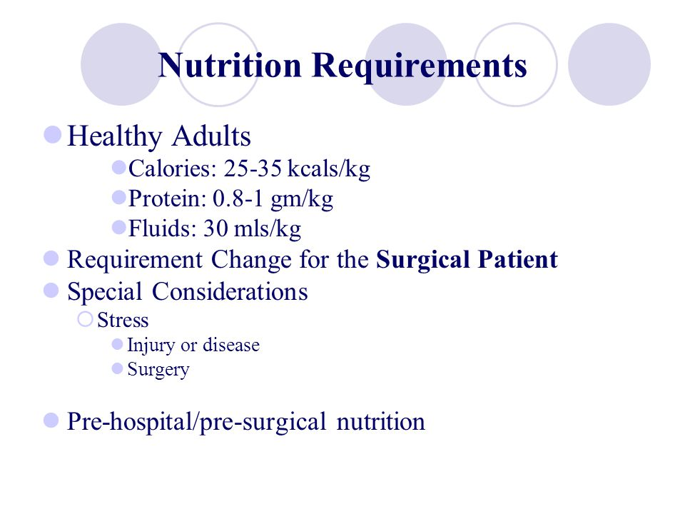 Nutrition The surgical patient… Extraordinary stressors (hypovolemia, hypervolemia, bacteremia, medications) Wound Healing Anabolic state, appropriate vitamins (A, C, Zinc), and adequate kcals/protein.