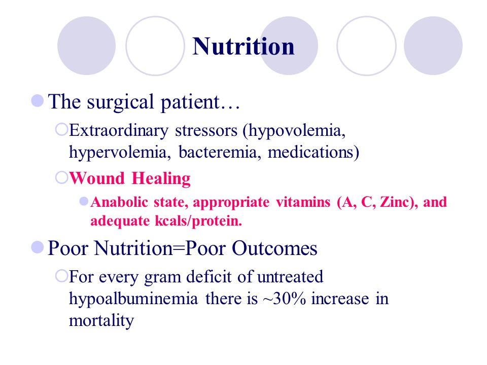 Nutrition The surgical patient… Extraordinary stressors (hypovolemia, hypervolemia, bacteremia, medications) Wound Healing Anabolic state, appropriate
