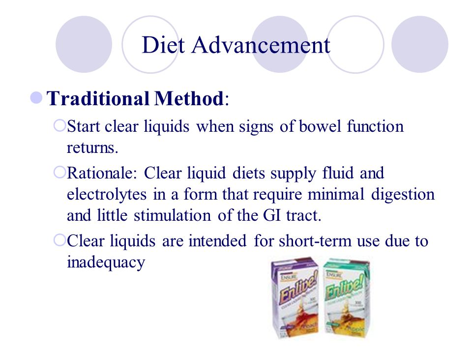 Diet Advancement Traditional Method: Start clear liquids when signs of bowel function returns. Rationale: Clear liquid diets supply fluid and electrol