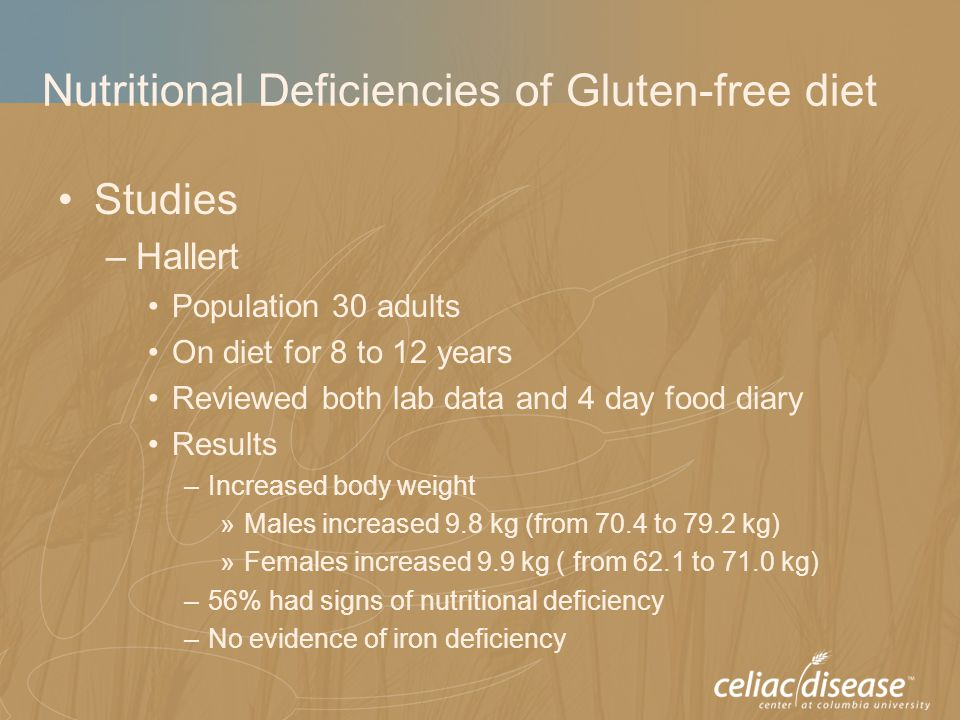 Nutritional Deficiencies of Gluten-free diet Studies –Hallert Population 30 adults On diet for 8 to 12 years Reviewed both lab data and 4 day food dia