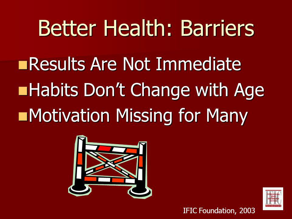 Better Health: Barriers Results Are Not Immediate Results Are Not Immediate Habits Dont Change with Age Habits Dont Change with Age Motivation Missing for Many Motivation Missing for Many IFIC Foundation, 2003