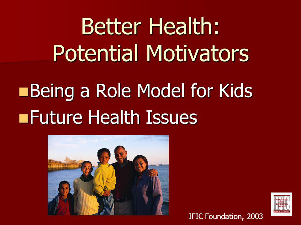 Better Health: Potential Motivators Being a Role Model for Kids Being a Role Model for Kids Future Health Issues Future Health Issues IFIC Foundation, 2003
