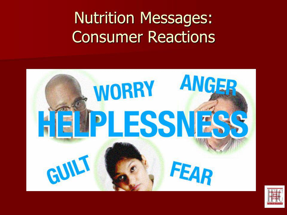 Nutrition Messages: Consumer Reactions