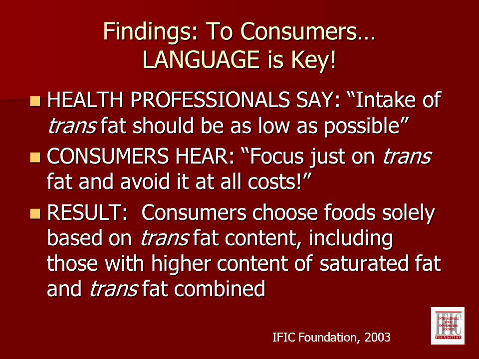 HEALTH PROFESSIONALS SAY: Intake of trans fat should be as low as possible HEALTH PROFESSIONALS SAY: Intake of trans fat should be as low as possible CONSUMERS HEAR: Focus just on trans fat and avoid it at all costs.