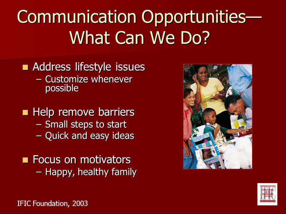 Communication Opportunities What Can We Do.