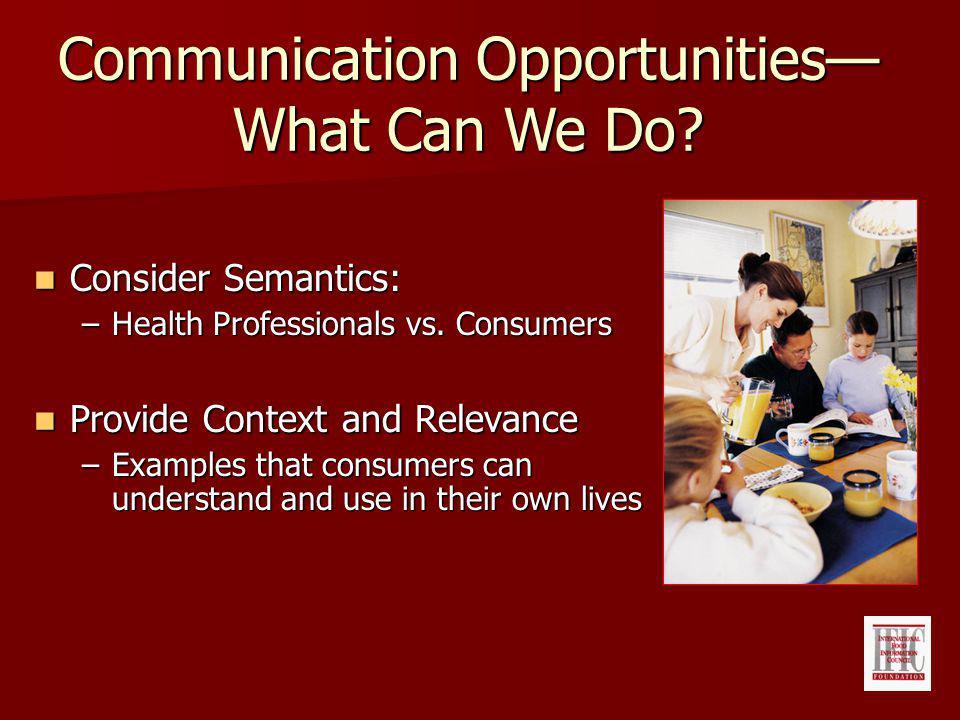 Consider Semantics: Consider Semantics: –Health Professionals vs.
