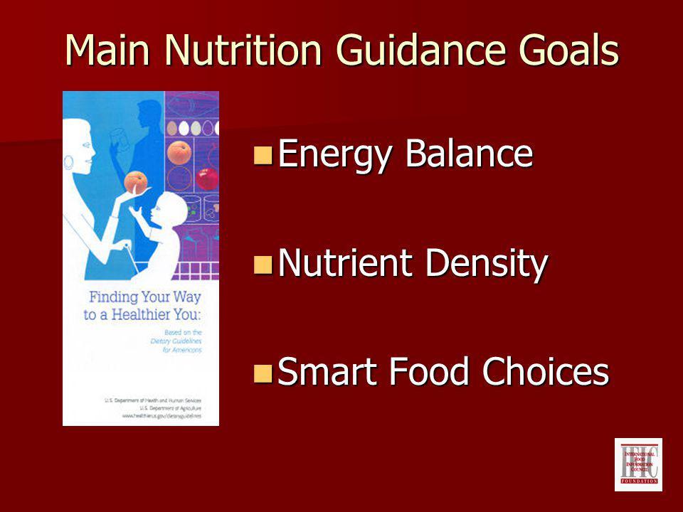 Main Nutrition Guidance Goals Energy Balance Energy Balance Nutrient Density Nutrient Density Smart Food Choices Smart Food Choices