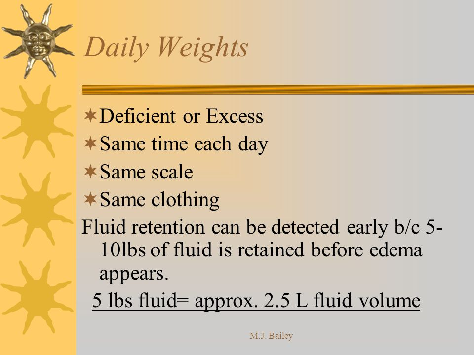M.J. Bailey Daily Weights Deficient or Excess Same time each day Same scale Same clothing Fluid retention can be detected early b/c 5- 10lbs of fluid