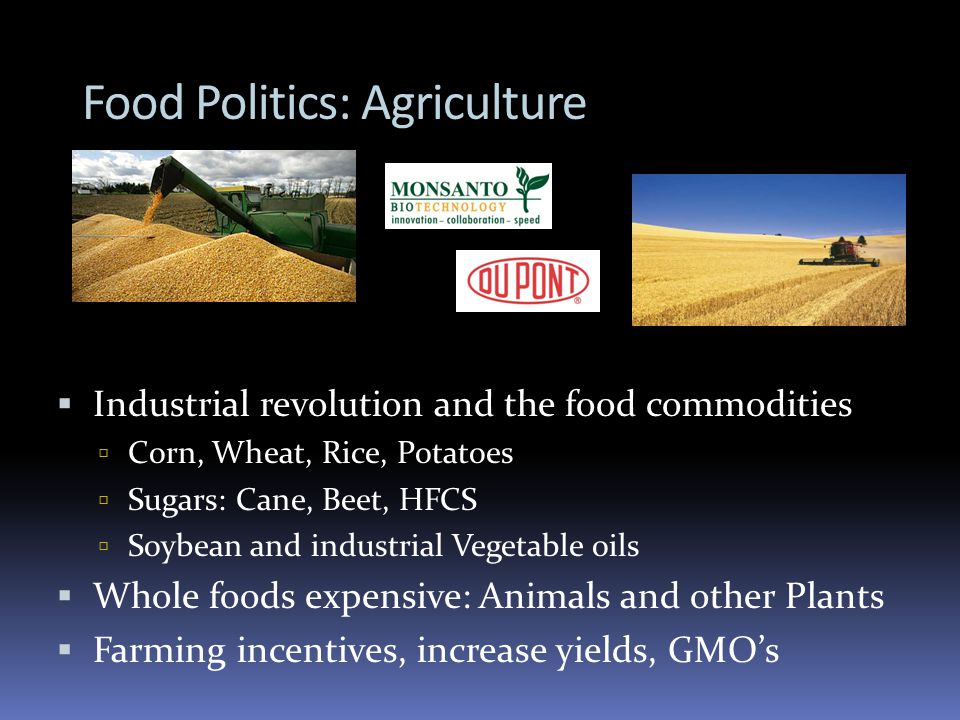 Food Politics: Agriculture Industrial revolution and the food commodities Corn, Wheat, Rice, Potatoes Sugars: Cane, Beet, HFCS Soybean and industrial Vegetable oils Whole foods expensive: Animals and other Plants Farming incentives, increase yields, GMOs