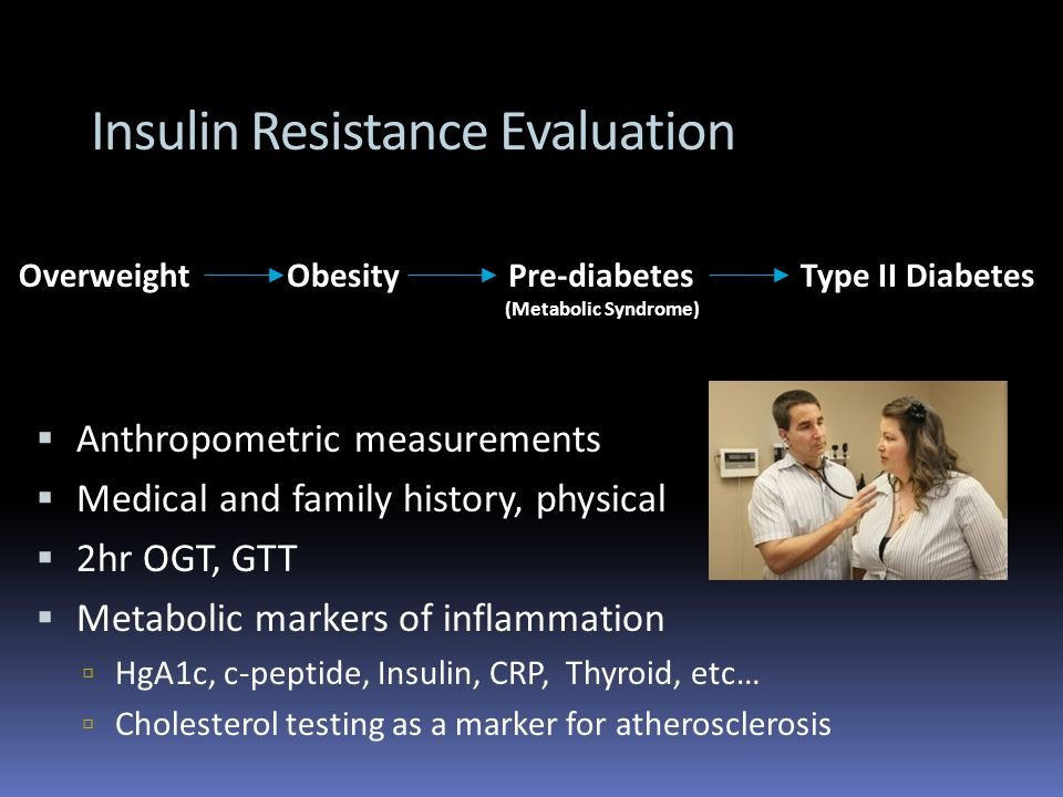 Insulin Resistance Evaluation OverweightObesityPre-diabetes (Metabolic Syndrome) Type II Diabetes Anthropometric measurements Medical and family history, physical 2hr OGT, GTT Metabolic markers of inflammation HgA1c, c-peptide, Insulin, CRP, Thyroid, etc… Cholesterol testing as a marker for atherosclerosis