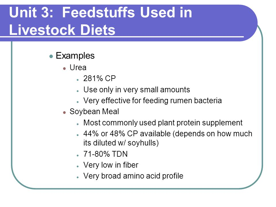 Unit 3: Feedstuffs Used in Livestock Diets Examples Urea 281% CP Use only in very small amounts Very effective for feeding rumen bacteria Soybean Meal Most commonly used plant protein supplement 44% or 48% CP available (depends on how much its diluted w/ soyhulls) 71-80% TDN Very low in fiber Very broad amino acid profile