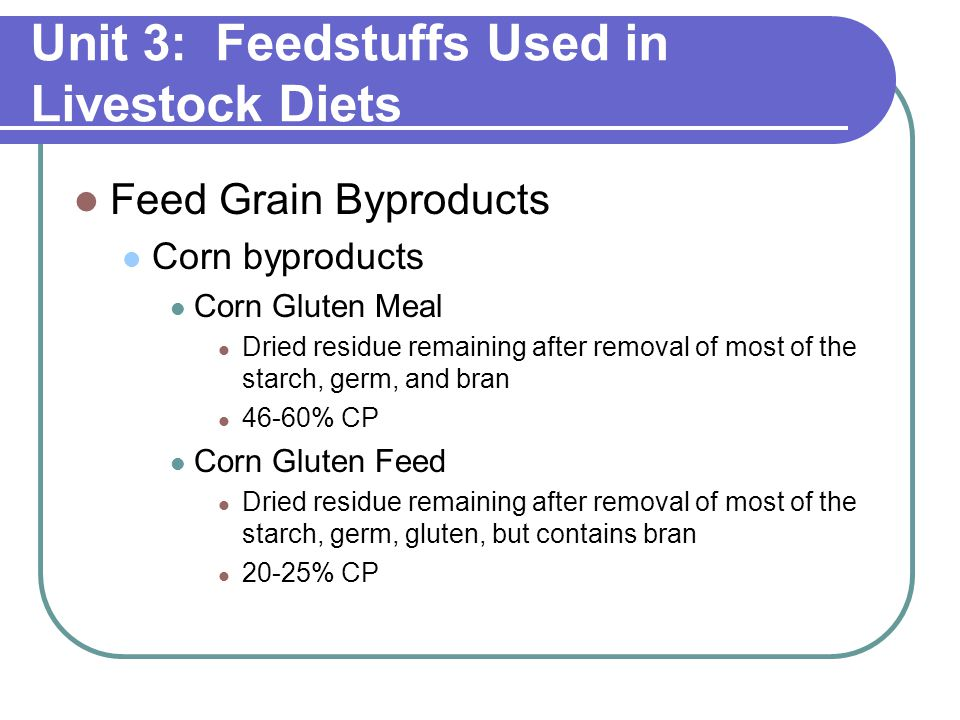 Unit 3: Feedstuffs Used in Livestock Diets Feed Grain Byproducts Corn byproducts Corn Gluten Meal Dried residue remaining after removal of most of the starch, germ, and bran 46-60% CP Corn Gluten Feed Dried residue remaining after removal of most of the starch, germ, gluten, but contains bran 20-25% CP