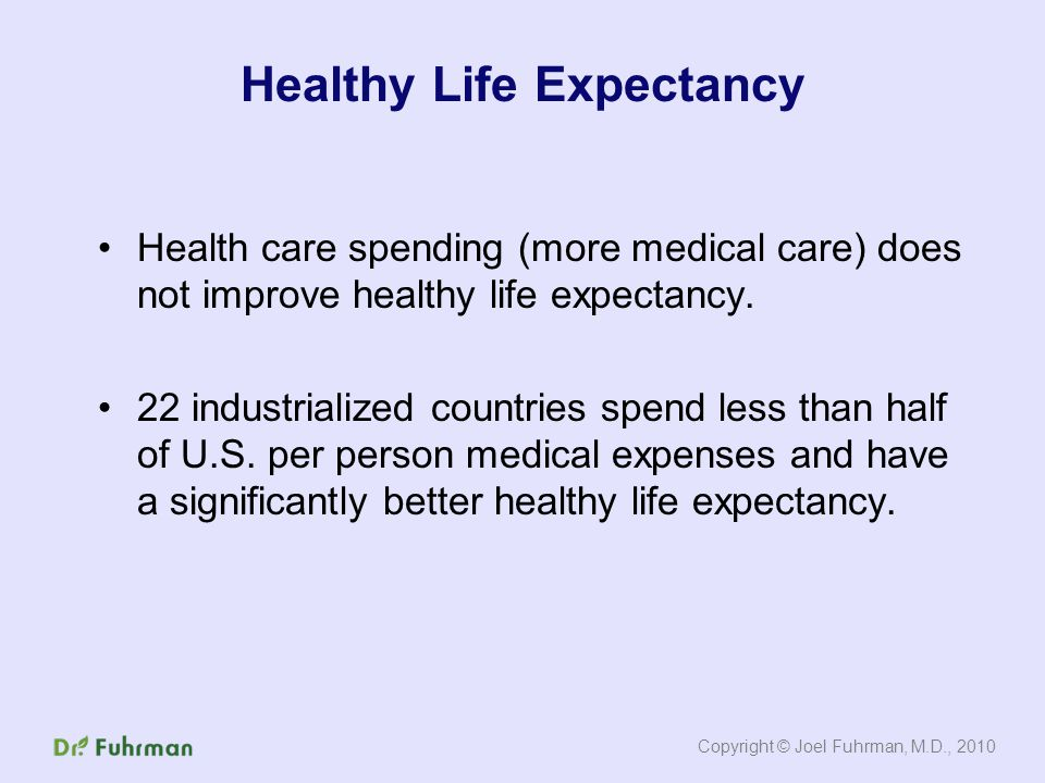Health care spending (more medical care) does not improve healthy life expectancy.