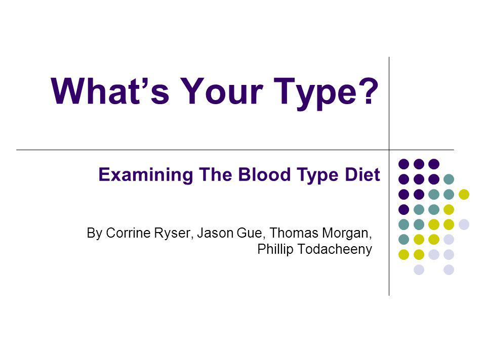 Whats Your Type? By Corrine Ryser, Jason Gue, Thomas Morgan, Phillip Todacheeny Examining The Blood Type Diet