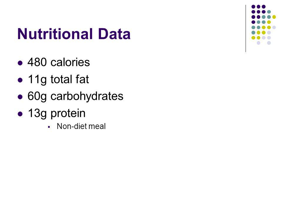 Nutritional Data 480 calories 11g total fat 60g carbohydrates 13g protein Non-diet meal