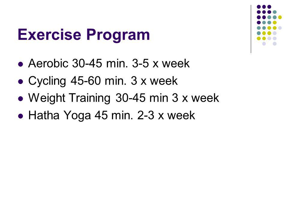 Exercise Program Aerobic 30-45 min. 3-5 x week Cycling 45-60 min.