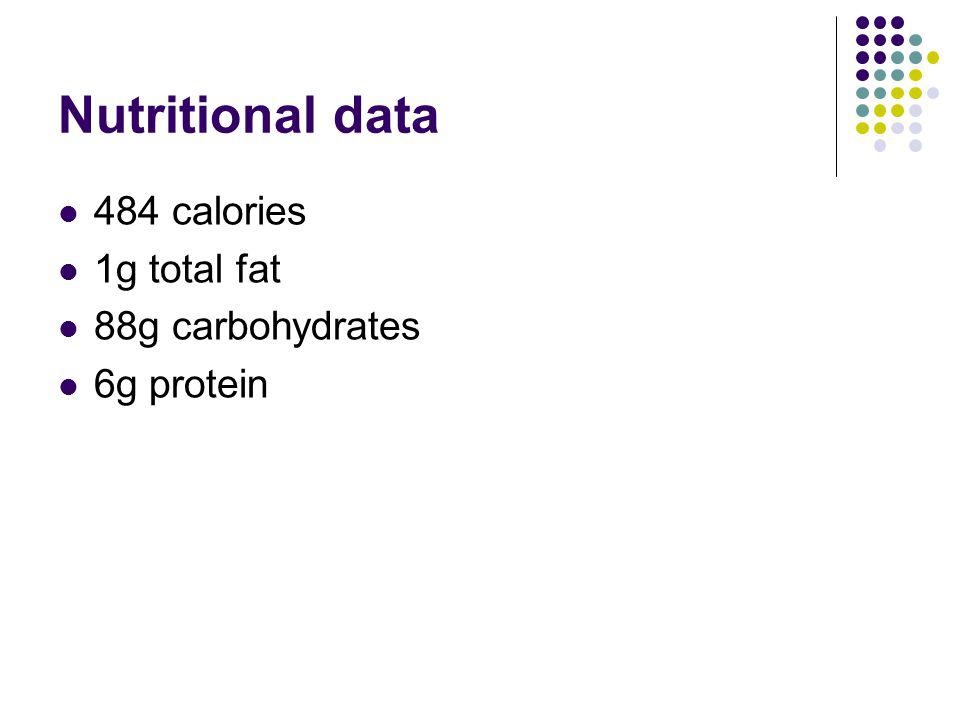 Nutritional data 484 calories 1g total fat 88g carbohydrates 6g protein