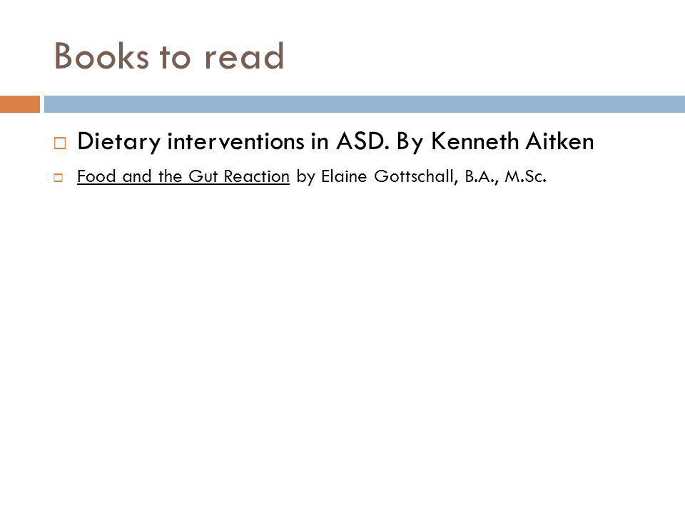 Books to read Dietary interventions in ASD.