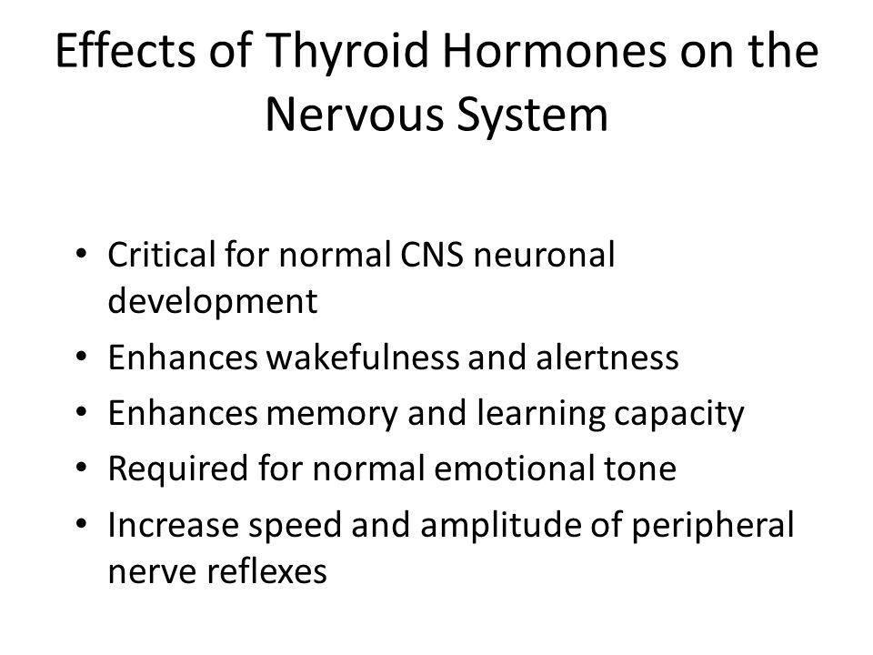 Effects of Thyroid Hormones on the Nervous System Critical for normal CNS neuronal development Enhances wakefulness and alertness Enhances memory and
