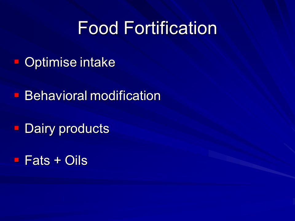 Food Fortification Optimise intake Optimise intake Behavioral modification Behavioral modification Dairy products Dairy products Fats + Oils Fats + Oils