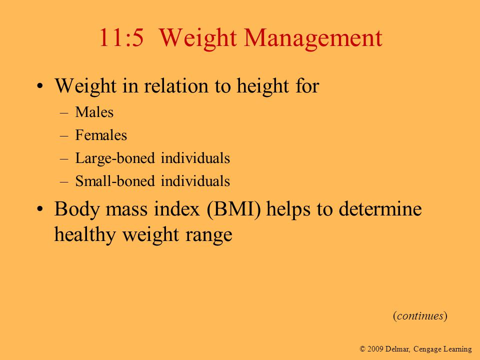 © 2009 Delmar, Cengage Learning 11:5 Weight Management Weight in relation to height for –Males –Females –Large-boned individuals –Small-boned individu