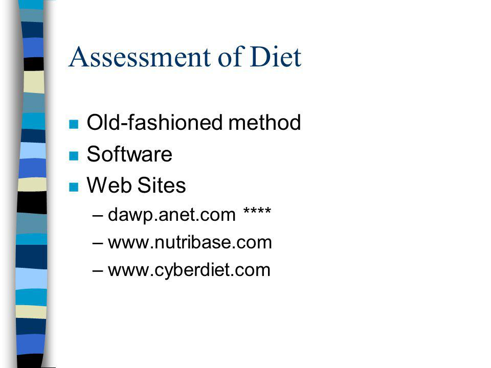 Assessment of Diet n Old-fashioned method n Software n Web Sites –dawp.anet.com **** –www.nutribase.com –www.cyberdiet.com
