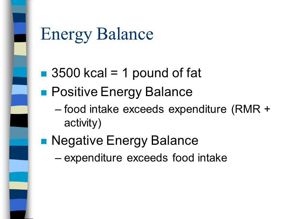 n 3500 kcal = 1 pound of fat n Positive Energy Balance –food intake exceeds expenditure (RMR + activity) n Negative Energy Balance –expenditure exceeds food intake