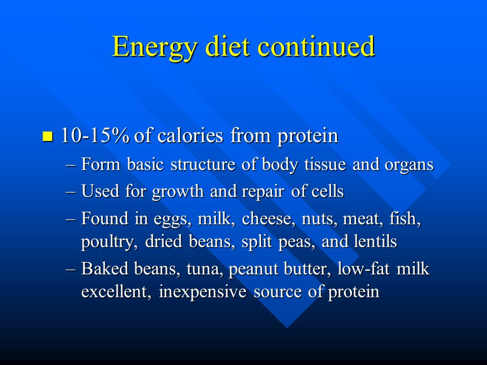What is the energy diet and what foods do I need? Best balance for sports diet includes: Best balance for sports diet includes: –60-65% of calories fr