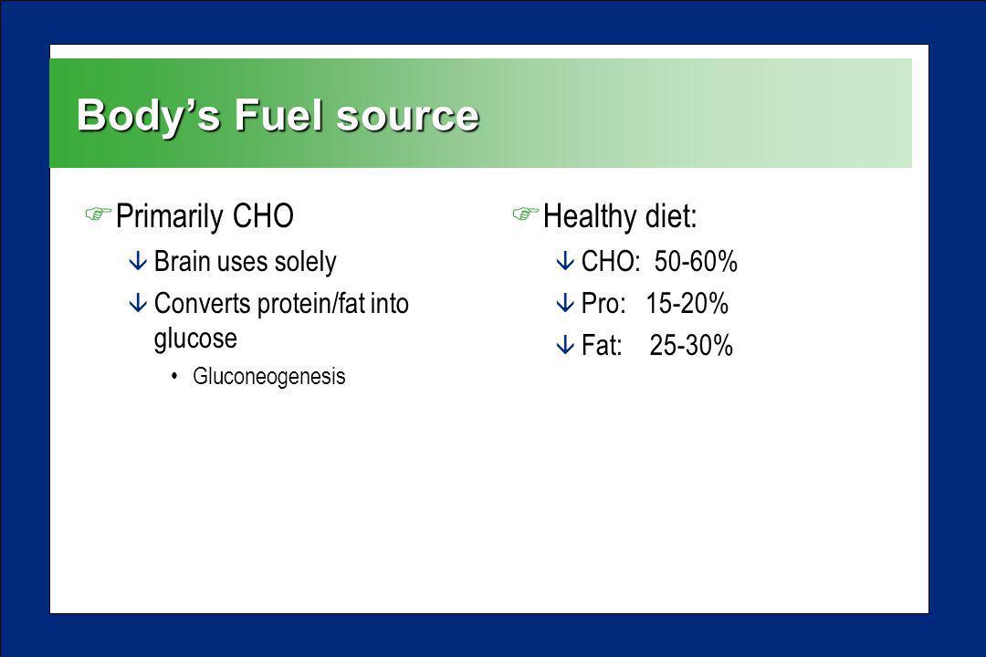 Bodys Fuel source FPrimarily CHO â Brain uses solely â Converts protein/fat into glucose Gluconeogenesis FHealthy diet: â CHO: 50-60% â Pro: 15-20% â