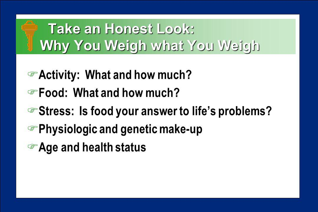 Take an Honest Look: Why You Weigh what You Weigh Take an Honest Look: Why You Weigh what You Weigh F Activity: What and how much.