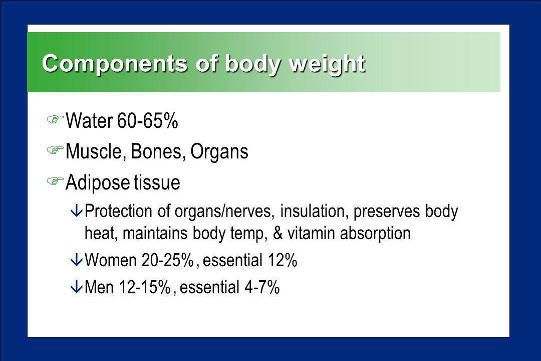 Components of body weight FWater 60-65% FMuscle, Bones, Organs FAdipose tissue â Protection of organs/nerves, insulation, preserves body heat, maintai