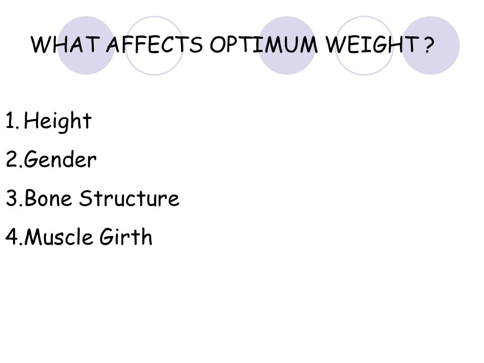 WHAT AFFECTS OPTIMUM WEIGHT ? 1.Height 2.Gender 3.Bone Structure 4.Muscle Girth