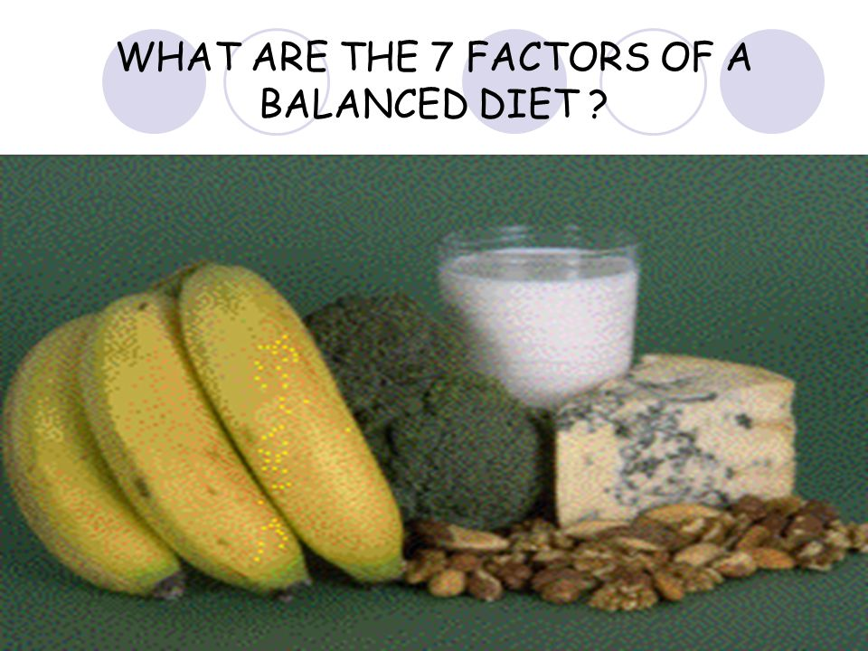WHAT ARE THE 7 FACTORS OF A BALANCED DIET ?