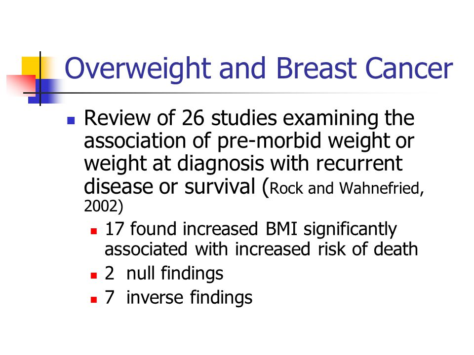 Overweight and Breast Cancer Review of 26 studies examining the association of pre-morbid weight or weight at diagnosis with recurrent disease or survival ( Rock and Wahnefried, 2002) 17 found increased BMI significantly associated with increased risk of death 2 null findings 7 inverse findings