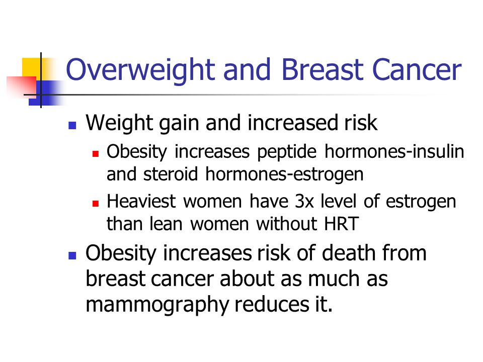 Overweight and Breast Cancer Weight gain and increased risk Obesity increases peptide hormones-insulin and steroid hormones-estrogen Heaviest women have 3x level of estrogen than lean women without HRT Obesity increases risk of death from breast cancer about as much as mammography reduces it.