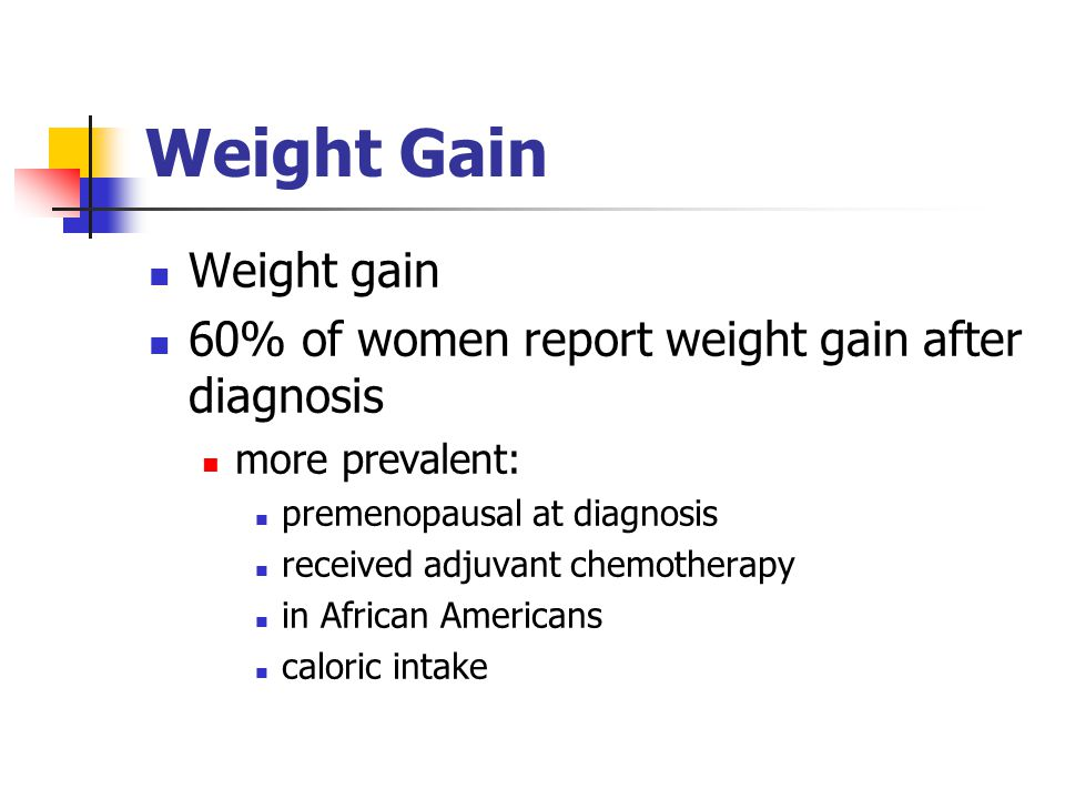 Weight Gain Weight gain 60% of women report weight gain after diagnosis more prevalent: premenopausal at diagnosis received adjuvant chemotherapy in African Americans caloric intake