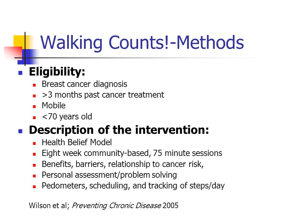 Walking Counts!-Methods Eligibility: Breast cancer diagnosis >3 months past cancer treatment Mobile <70 years old Description of the intervention: Health Belief Model Eight week community-based, 75 minute sessions Benefits, barriers, relationship to cancer risk, Personal assessment/problem solving Pedometers, scheduling, and tracking of steps/day Wilson et al; Preventing Chronic Disease 2005